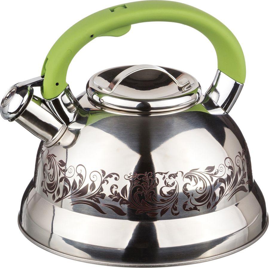 Чайник Agness, со свистком, 907-058, серебристый, 3 л чайник agness 3 л узор