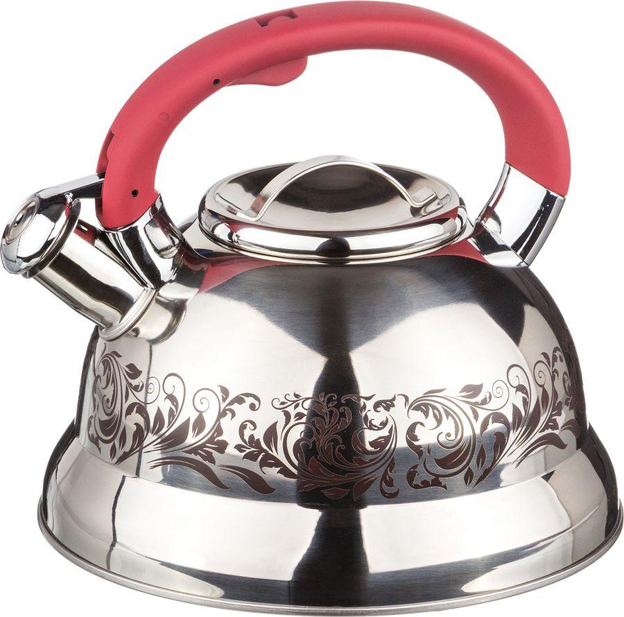 Чайник Agness, со свистком, 907-059, серебристый, 3 л чайник agness 3 л узор