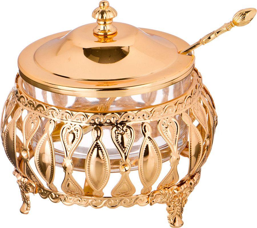 Сахарница Agness, с ложкой, 928-200, золотой, 225 мл сахарница teco с ложкой цвет стальной 200 мл tc s022 2