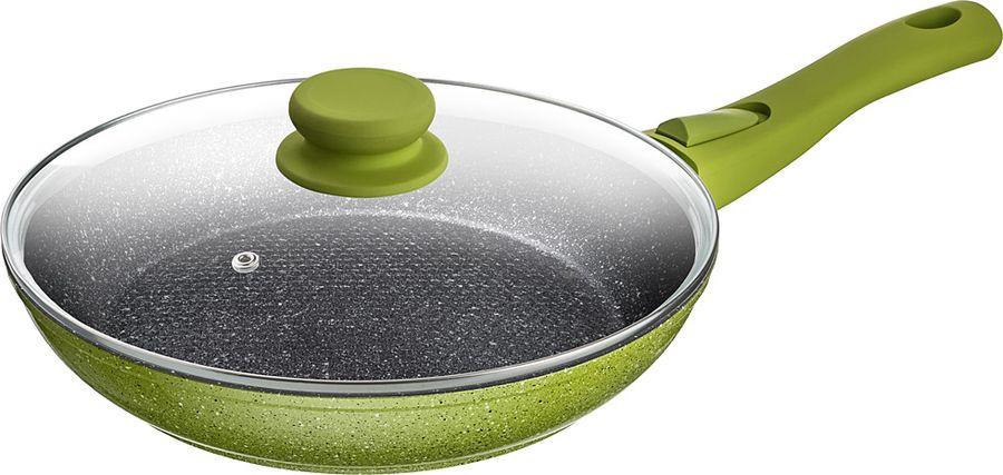 Сковорода Agness, с антипригарным покрытием и крышкой, 918-189, зеленый, диаметр 28 см
