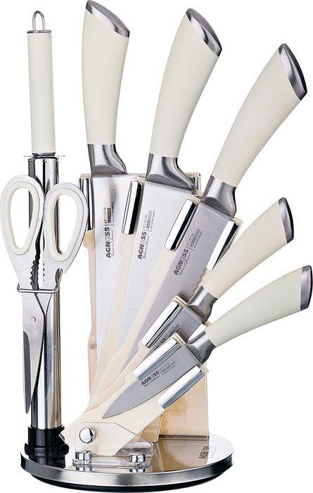 Набор ножей Agness, на подставке, 911-502, белый, 8 предметов набор кухонных ножей agness 8 предметов с подставкой коричневые ручки
