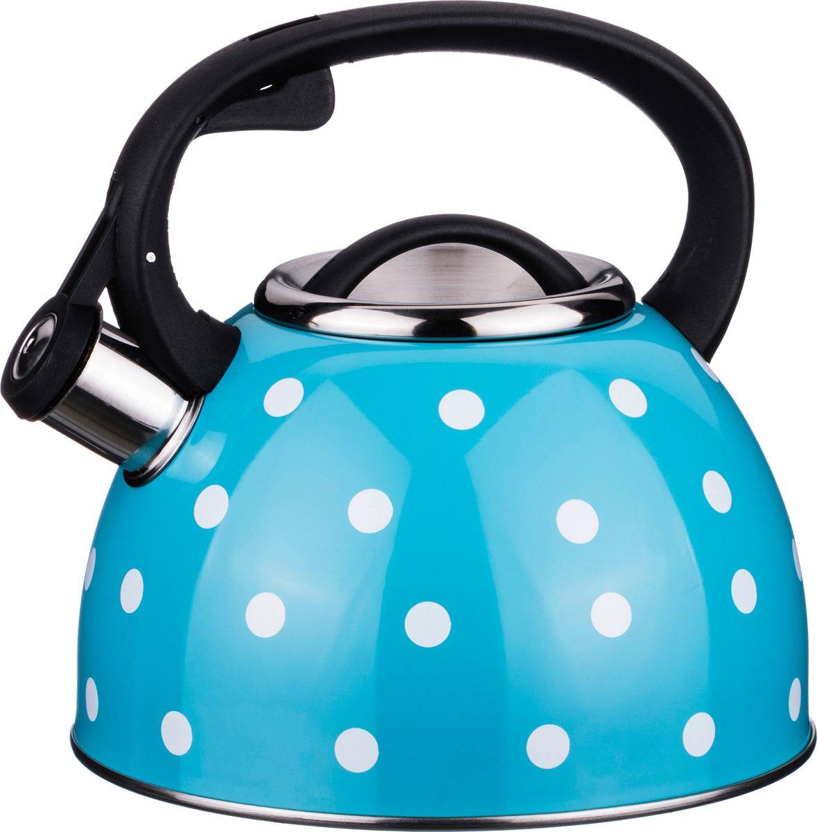 Чайник Agness Горошек, со свистком, 907-073, голубой, м