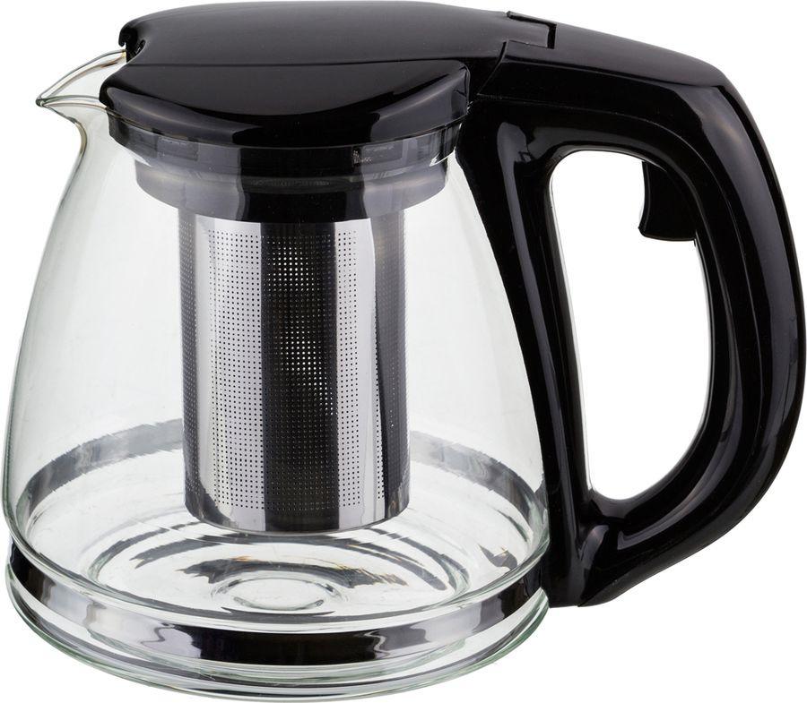цена на Чайник заварочный Agness, с фильтром, 884-011, черный, 1,1 л