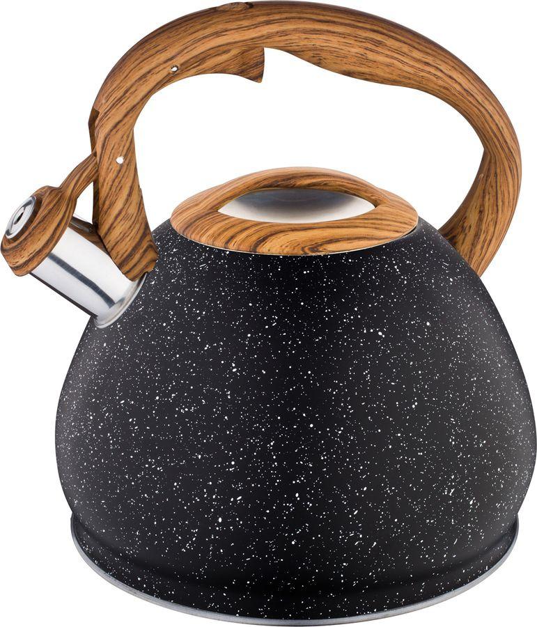 Чайник Agness Black Marble, со свистком, 937-811, черный, 3 л
