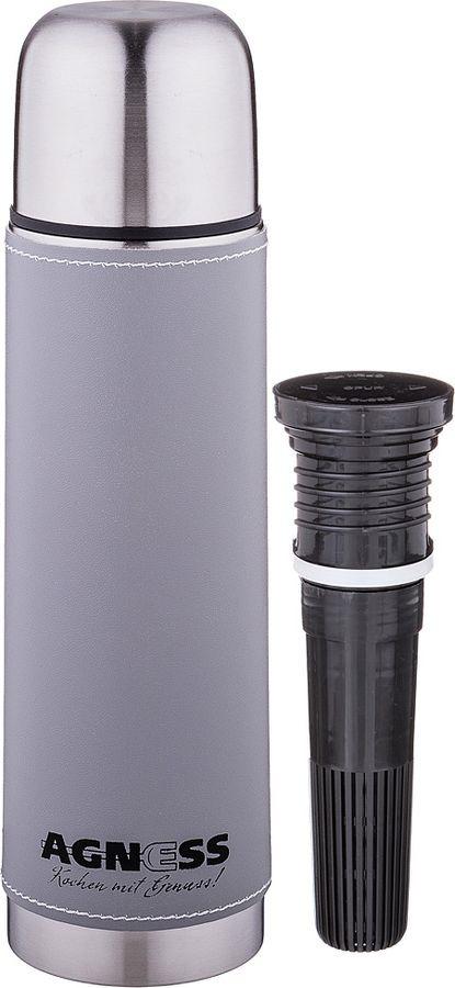 Термос Agness Монблан, со съемным фильтром, 910-722, серый, 500 мл