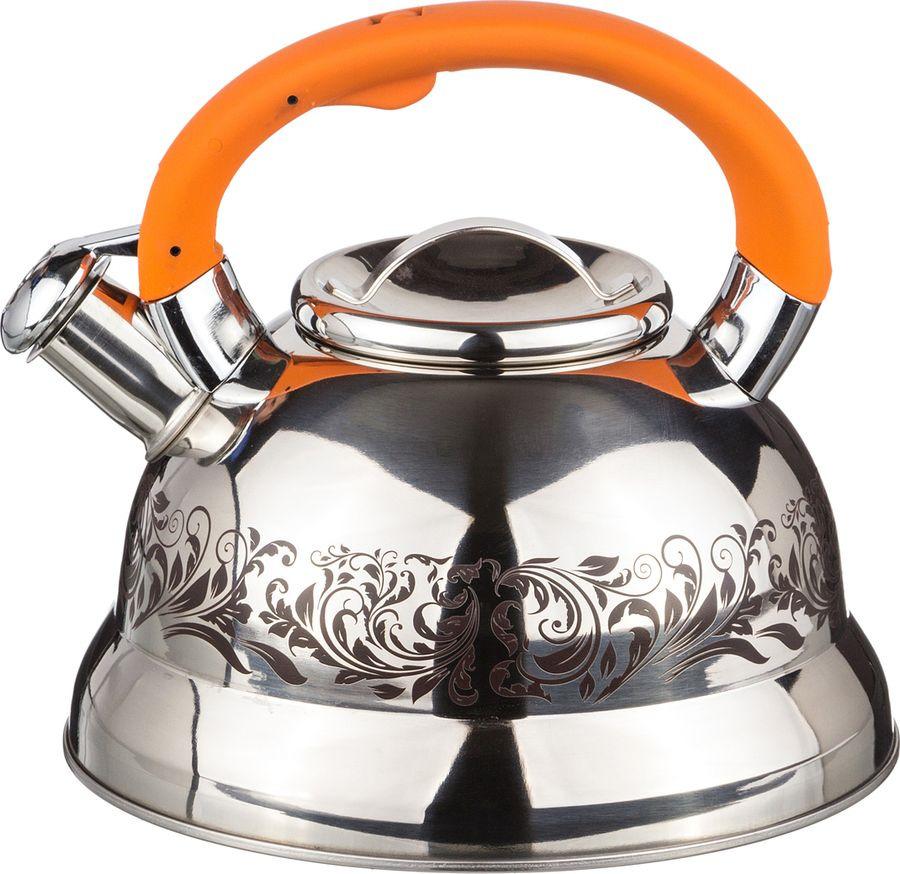 Чайник Agness, со свистком, 907-063, серебристый, 3 л