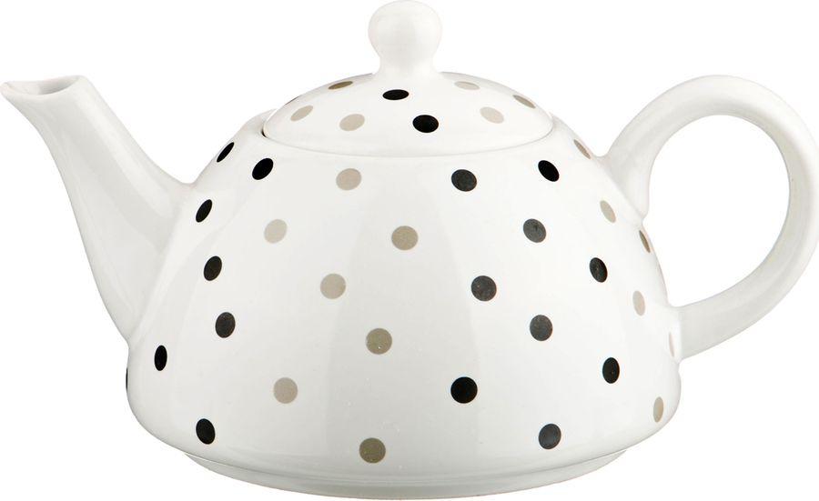 Чайник заварочный Agness, 470-290, черный, белый, 1 л цена и фото