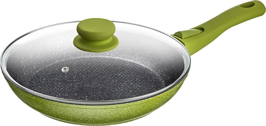 Сковорода Agness, с антипригарным покрытием и крышкой, 918-187, зеленый, диаметр 24 см