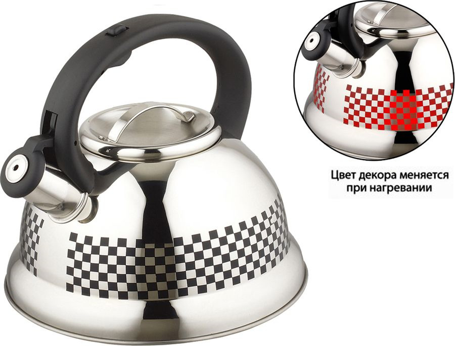 Чайник Agness, со свистком, 907-001, серебристый, 3 л