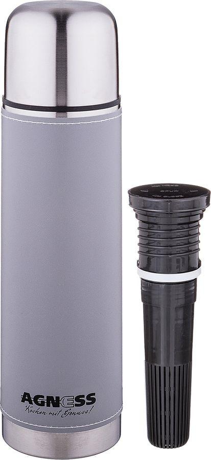 Термос Agness Монблан, со съемным фильтром, 910-723, серый, 750 мл цена