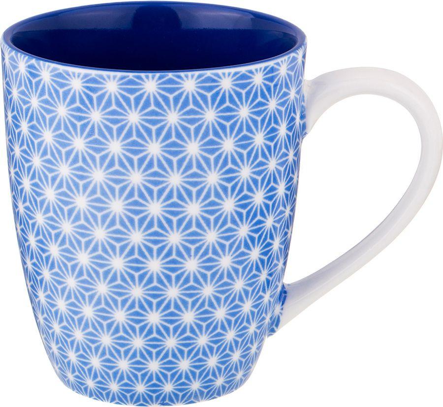 Кружка Agness, 585-108, белый, голубой, 400 мл585-108КРУЖКА 400 МЛ. БЕЗ УПАКОВКИ (МАЛ=4ШТ./КОР=48ШТ.)