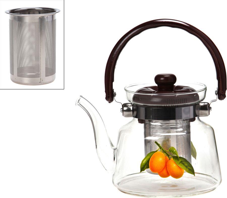 Чайник заварочный Agness Итальянские лимоны, с фильтром, 891-002, прозрачный, 800 мл чайник заварочный vitesse с фильтром цвет прозрачный 800 мл vs 4010