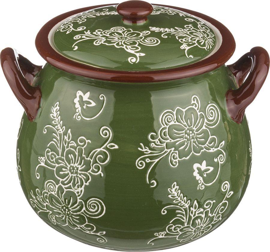 цена на Горшок для запекания Agness, 536-138, зеленый, 1,1 л