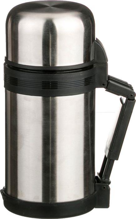 Термос Agness, с широким горлом, с крышкой-чашкой, 910-052, серебристый, 1 л термос agness с широким горлом 910 035 серебристый 1 л