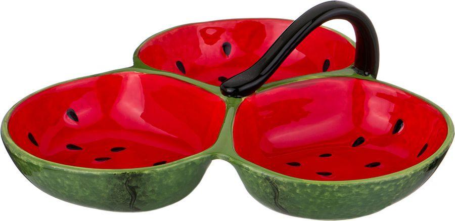 Менажница Agness, 585-085, красный, зеленый, 29 х 29 х 10 см585-085МЕНАЖНИЦА 3-Х СЕКЦИОННАЯ 29*29*10 СМ (КОР=6ШТ.)