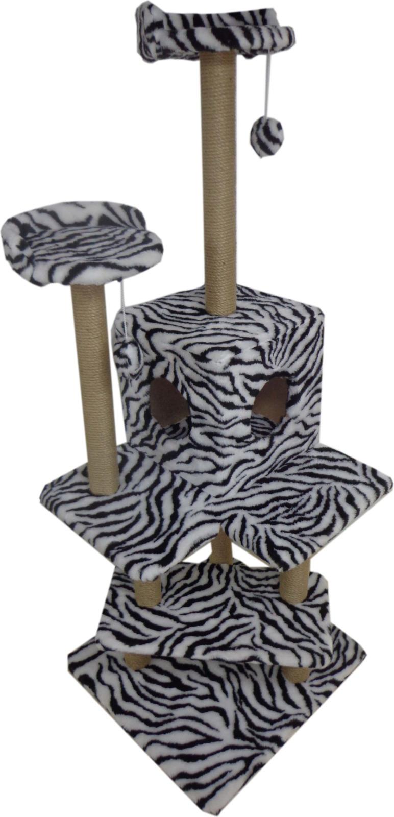 Игровой комплекс для кошек Меридиан Лестница, Д 151 Зе, зебра, 56 x 52 x 140 смД 151 Зе