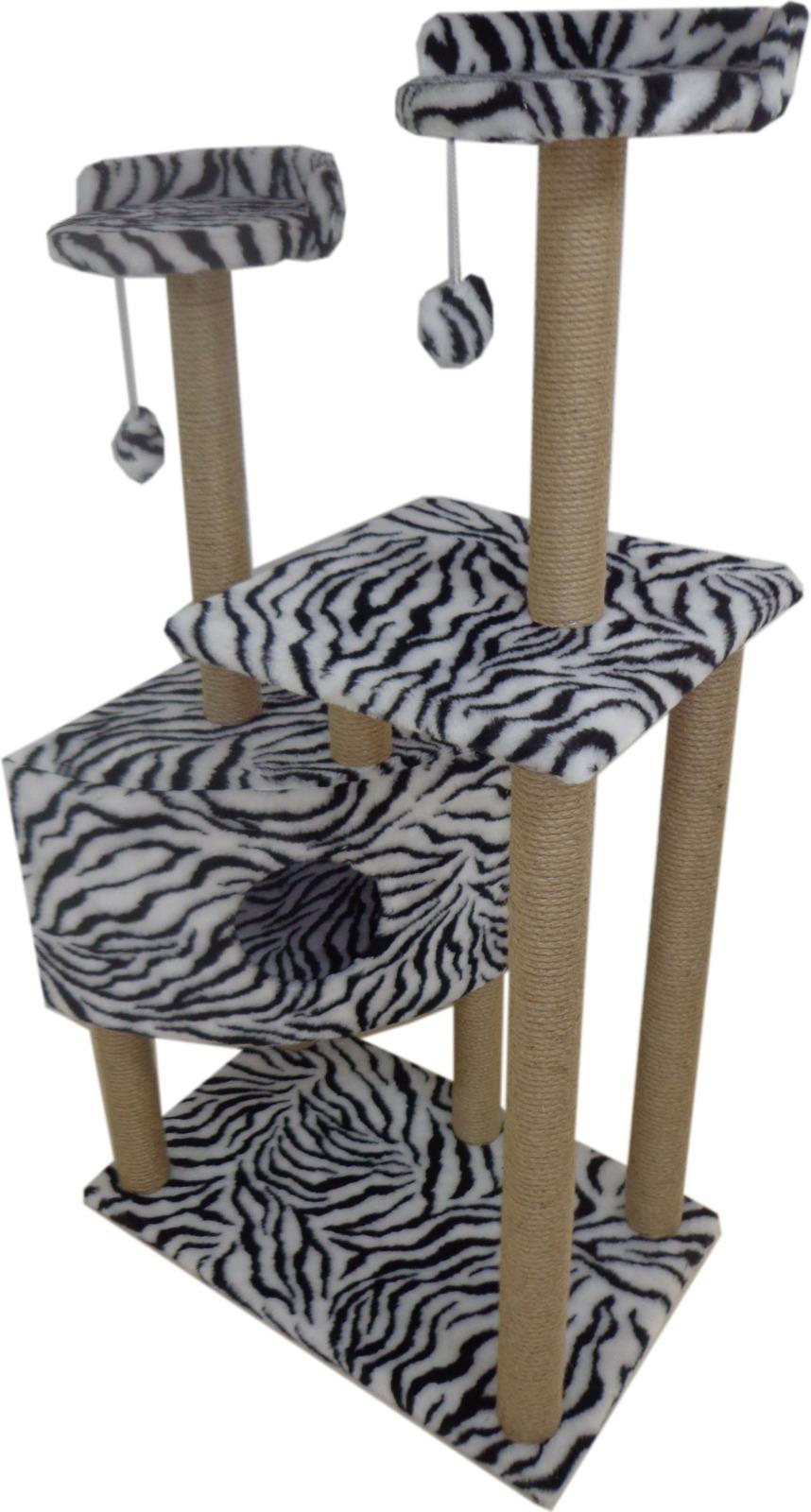 Домик-когтеточка Меридиан Угловой, Д 450 Зе, с игрушками, зебра, 65 x 41 x 131 см домик когтеточка меридиан угловой с игрушками цвет светло серый 65 х 41 х 131 см