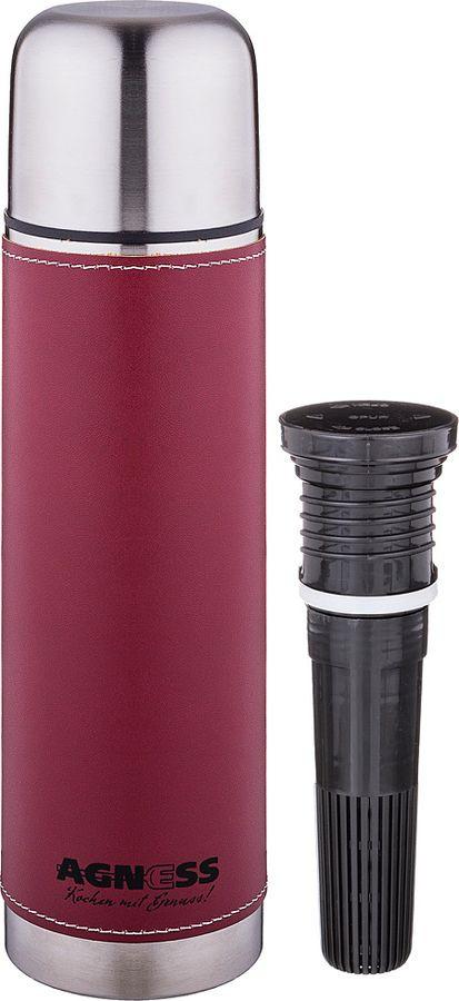 Термос Agness Рубин, со съемным фильтром, 910-726, красный, 750 мл цена
