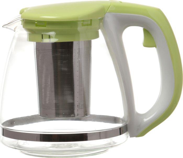 цена на Чайник заварочный Agness, с фильтром, 884-005, зеленый, 1,1 л