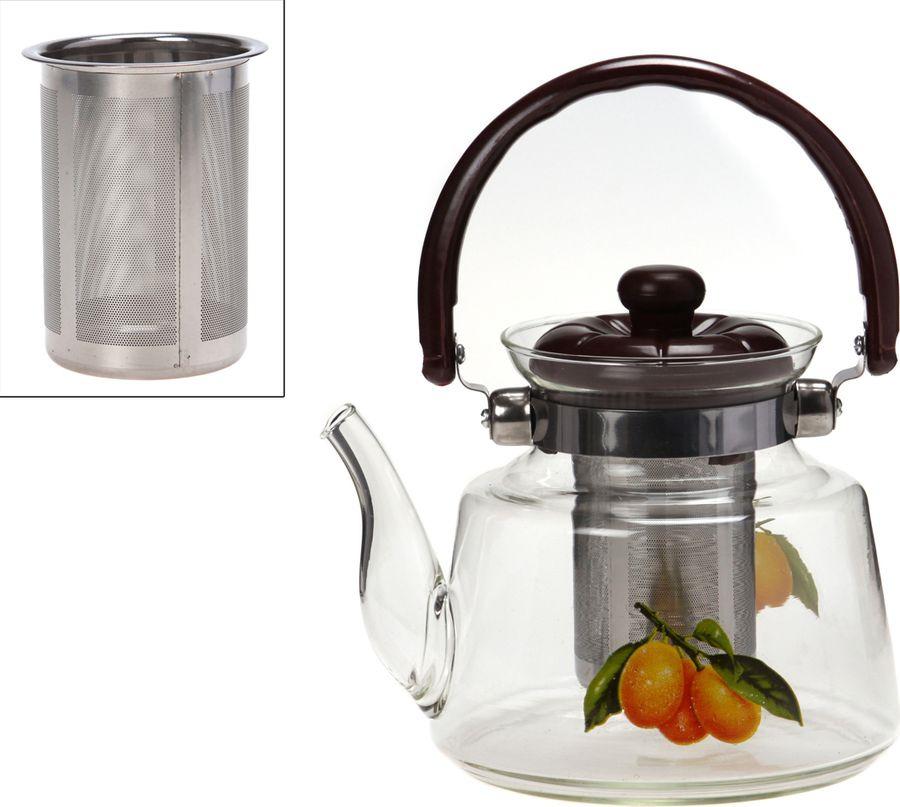 Чайник заварочный Agness Итальянские лимоны, с фильтром, 891-003, прозрачный, 1,2 л чайник заварочный vitesse с фильтром цвет прозрачный 800 мл vs 4010