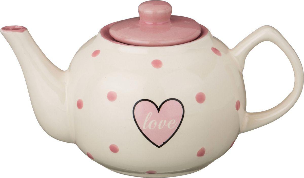 Чайник заварочный Agness Love, 584-026, белый, розовый, 860 мл