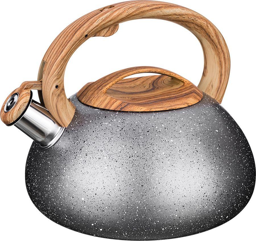 цена на Чайник Agness Монблан, со свистком, 907-081, серый, 3 л