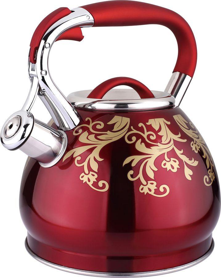 Чайник Agness Ориент, со свистком, 937-805, красный, 3 л937-805ЧАЙНИК AGNESS СО СВИСТКОМ ИНДУКЦИОН. КАПСУЛЬНОЕ ДНО 3,0 Л (КОР=6ШТ.)