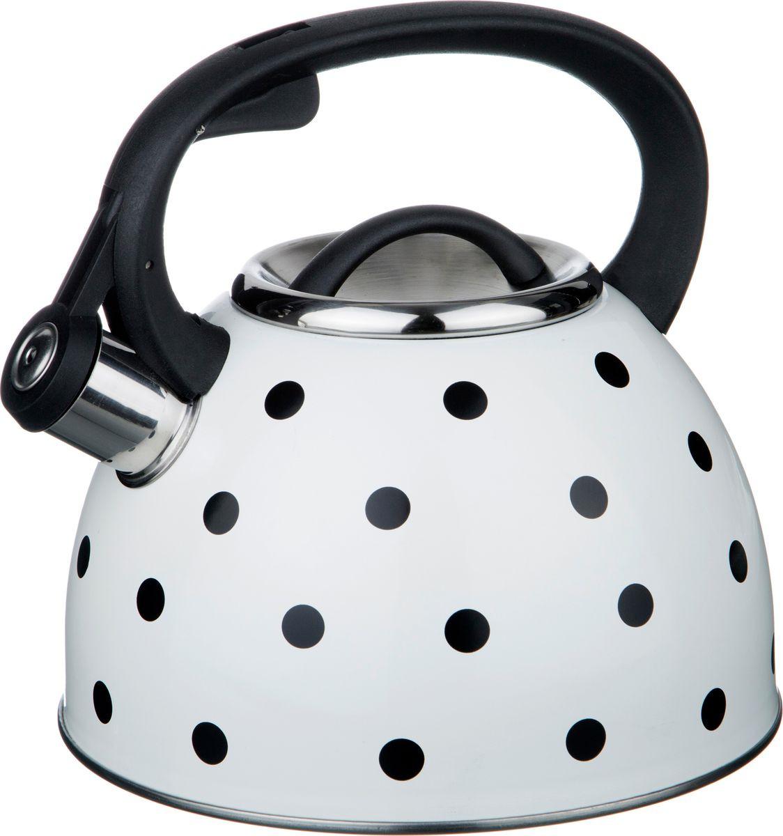 Чайник Agness Горошек, со свистком, 907-070, черный, белый, 2,5 л agness