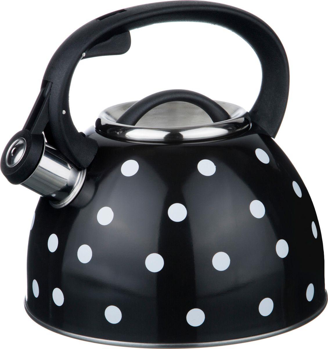 Чайник Agness Горошек, со свистком, 907-071, черный, белый, 2,5 л agness