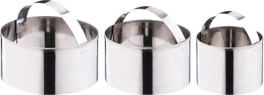 Набор форм для теста Agness, 712-083, серебристый, 3 шт набор форм для запекания marmiton 22 х 11 5 х 6 см 5 шт