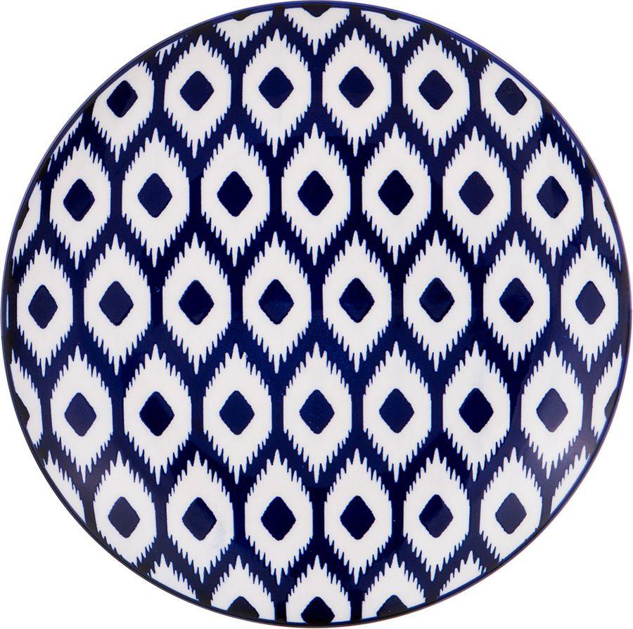 Тарелка Agness, 585-096, белый, синий, диаметр 20 см585-096ТАРЕЛКА ДИАМЕТР=20 СМ. ВЫСОТА=3 СМ. (МАЛ=4ШТ./КОР=48ШТ.)