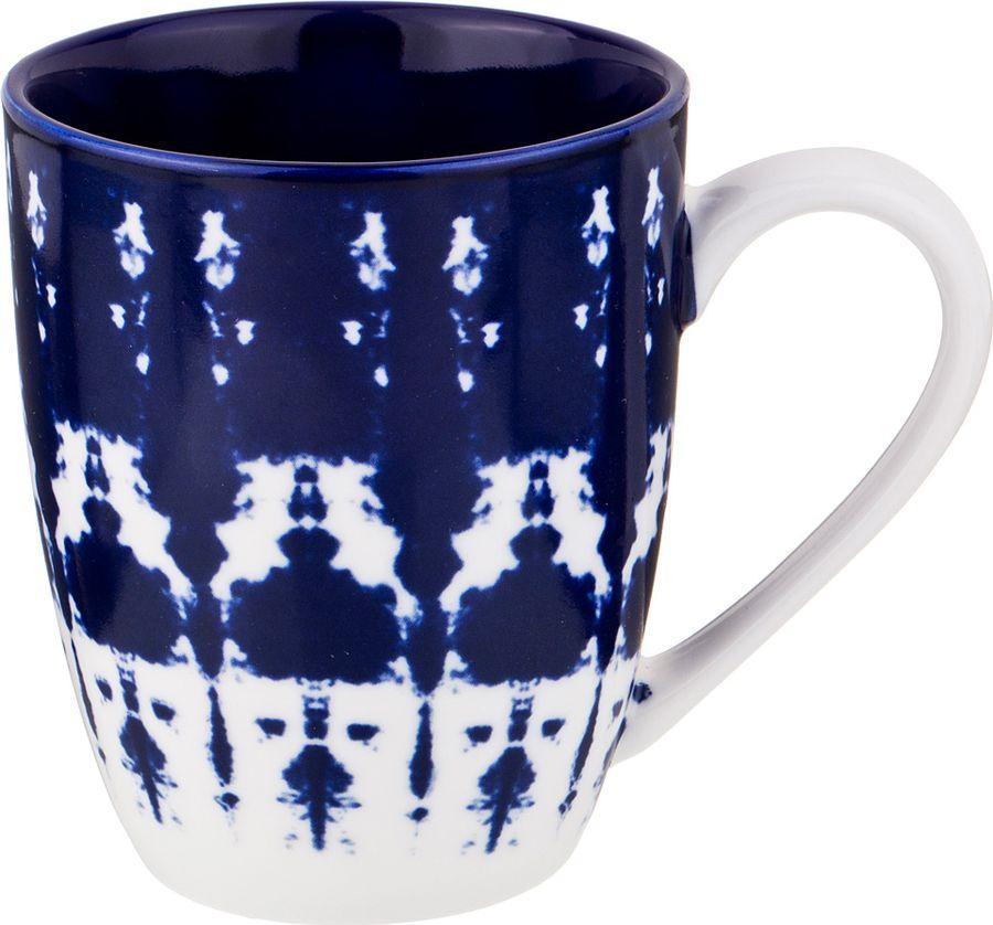 Кружка Agness, 585-111, белый, темно-синий, 400 мл