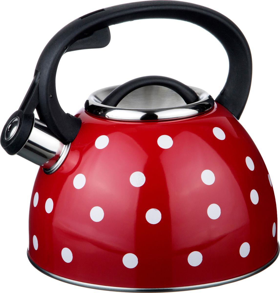 Чайник Agness Горошек, со свистком, 907-072, красный, 2,5 л agness
