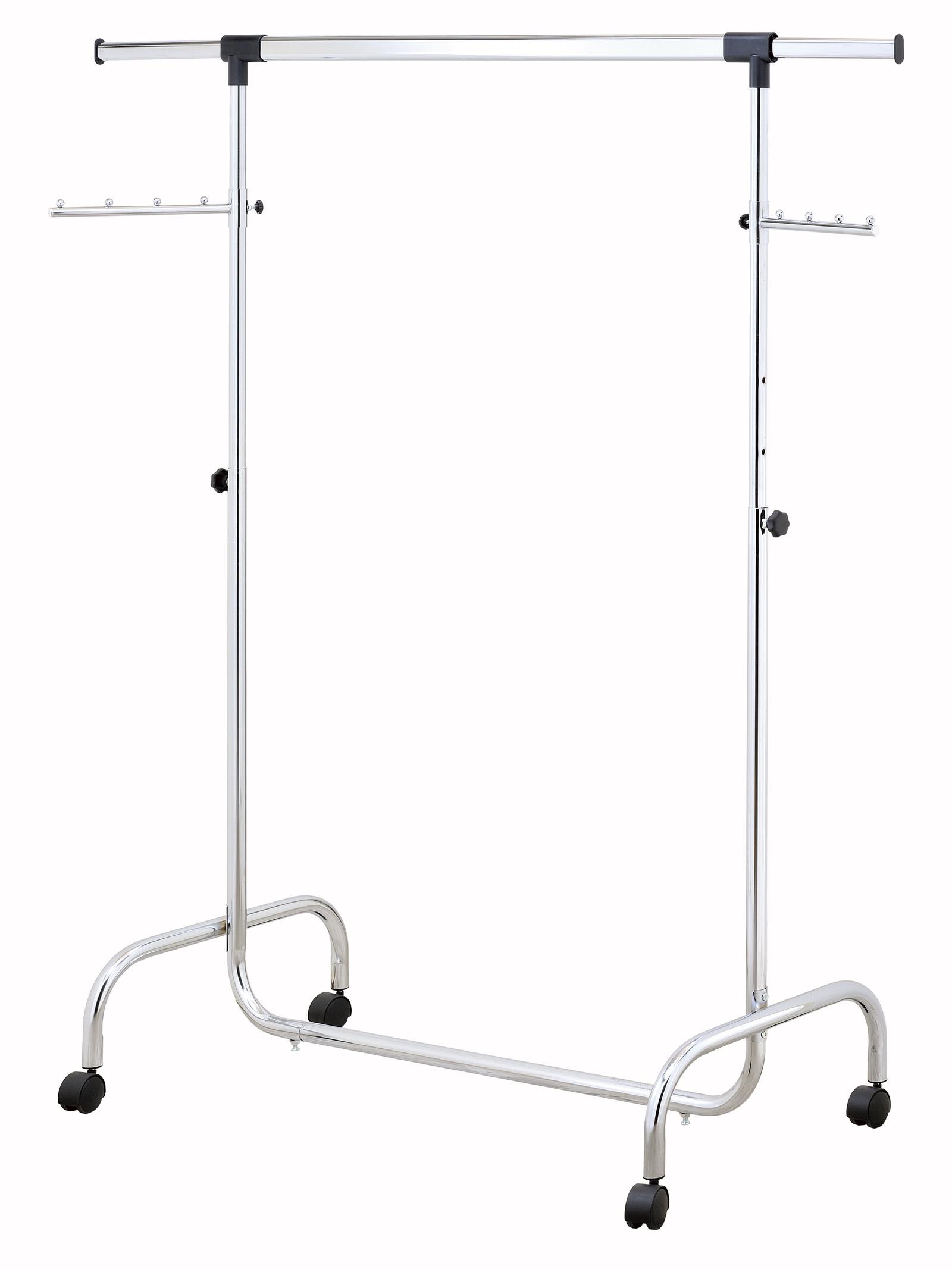 Стойка для одежды UniStor Напольная вешалка для одежды RINO усиленная напольная стойка на колёсиках для одежды, Хромированная поверхность напольная стойка для аппаратуры tvholder mobex 02