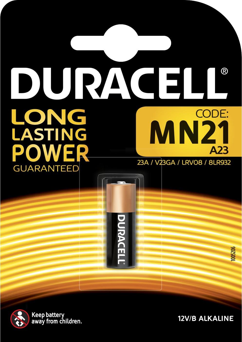 Батарейка алкалиновая для сигнализаций Duracell, тип MN21, 1 шт батарейка duracell mn21 a23 1 шт