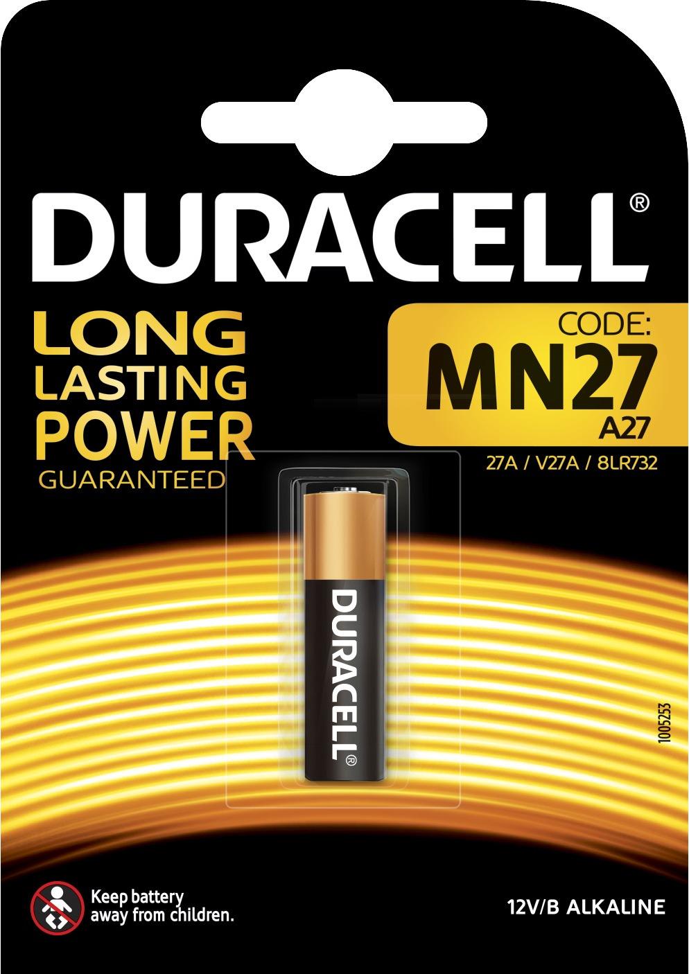 Батарейка алкалиновая Duracell, типоразмер MN27, 12 В батарейка duracell для сигнализаций 12в mn27 1шт