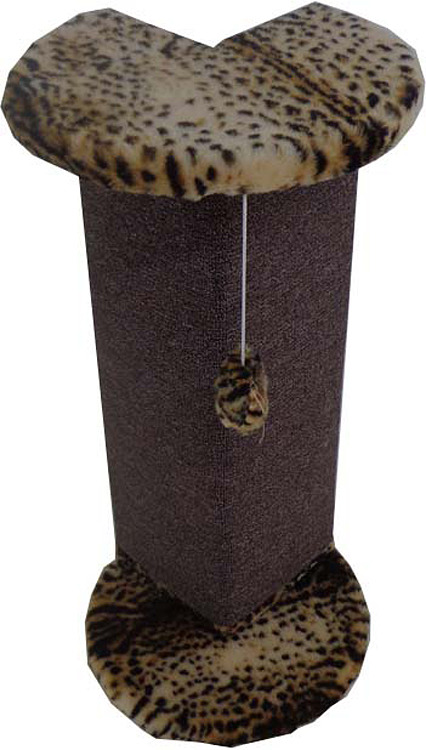 Когтеточка Меридиан Угловая, К 024 Б, с игрушкой, барс, 34 x 34 x 74 смК 024 Б