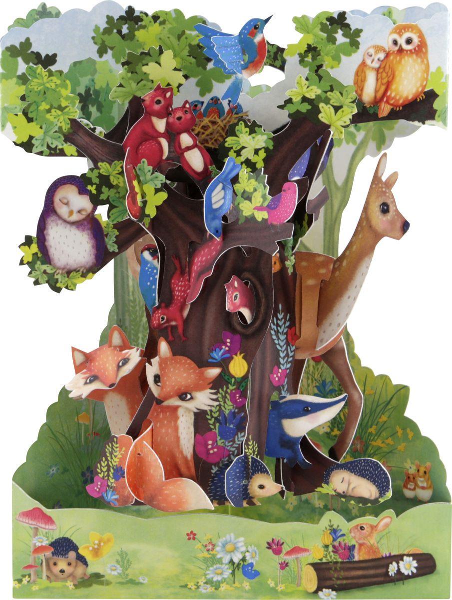 Открытка Santoro Животные леса, объемная, разноцветный, 20 х 14 х 10 см открытка объемная veld co серебряное копытце 21 х 10 см