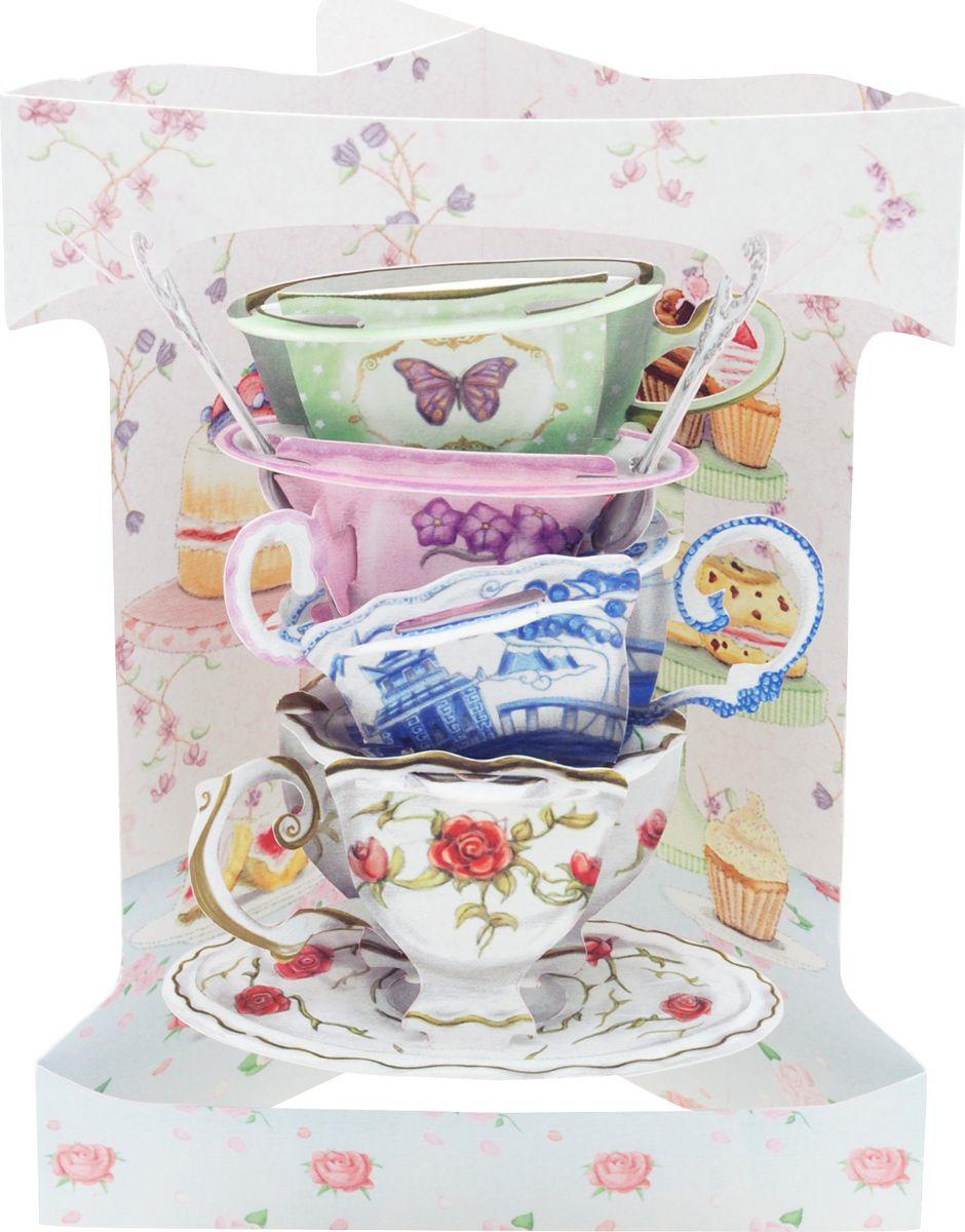 Открытка Santoro Чайные чашки, объемная, разноцветный, 20 х 14 х 10 см открытка объемная veld co серебряное копытце 21 х 10 см