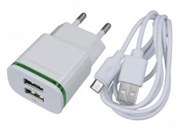 Зарядное устройство Navitoch JL-U593 2xUSB порта 2.1A + кабель microUSB, белый