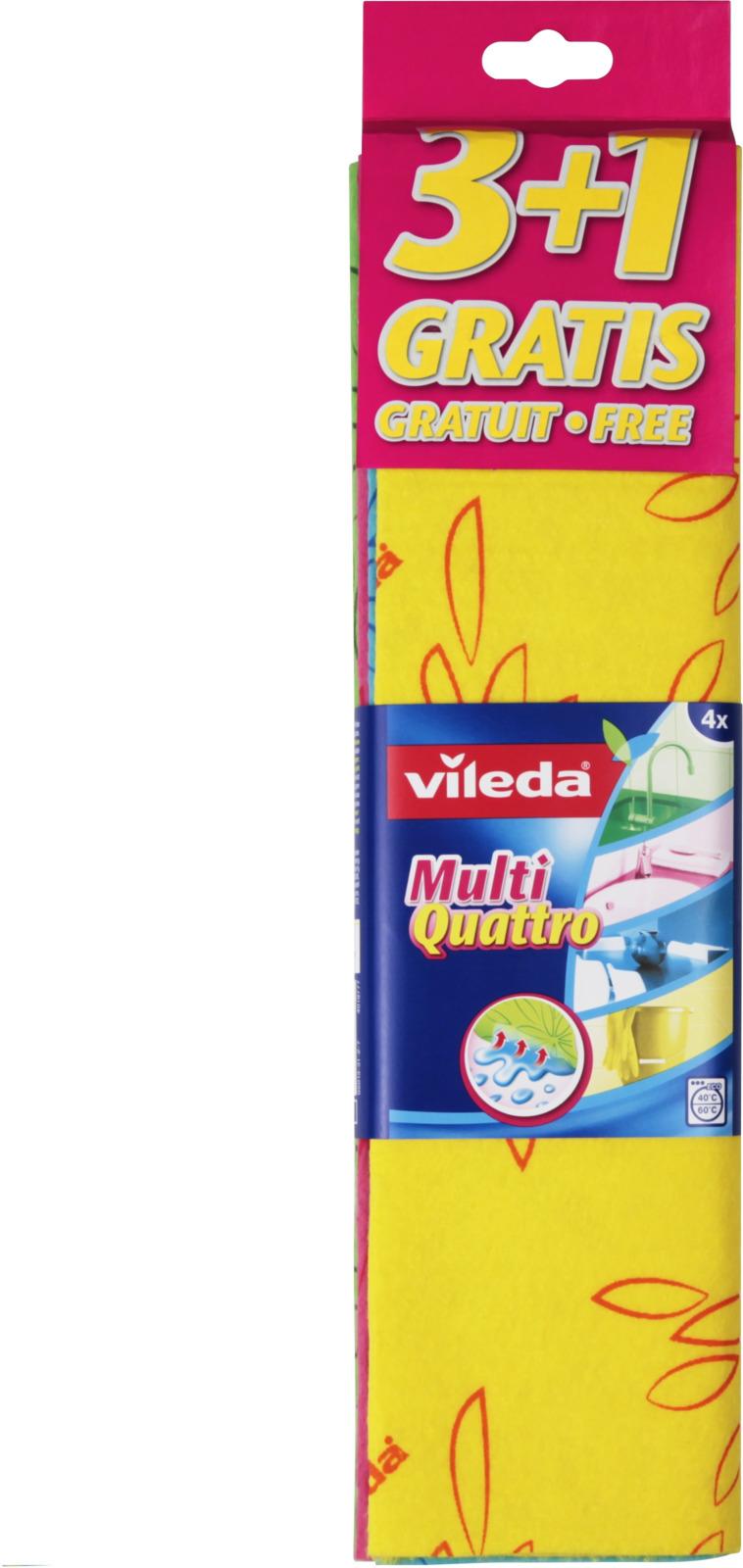 Набор универсальных вискозных салфеток Vileda Мульти Кватро, 4 шт прогулки из шкатулки кватро москва 4 игры в одной коробке