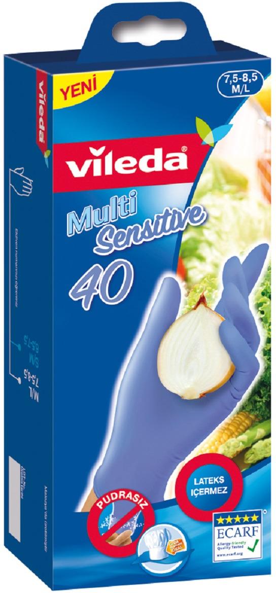 Перчатки одноразовые Vileda, 40 шт. Размер M/L перчатки для деликатных работ vileda sensitive размер l