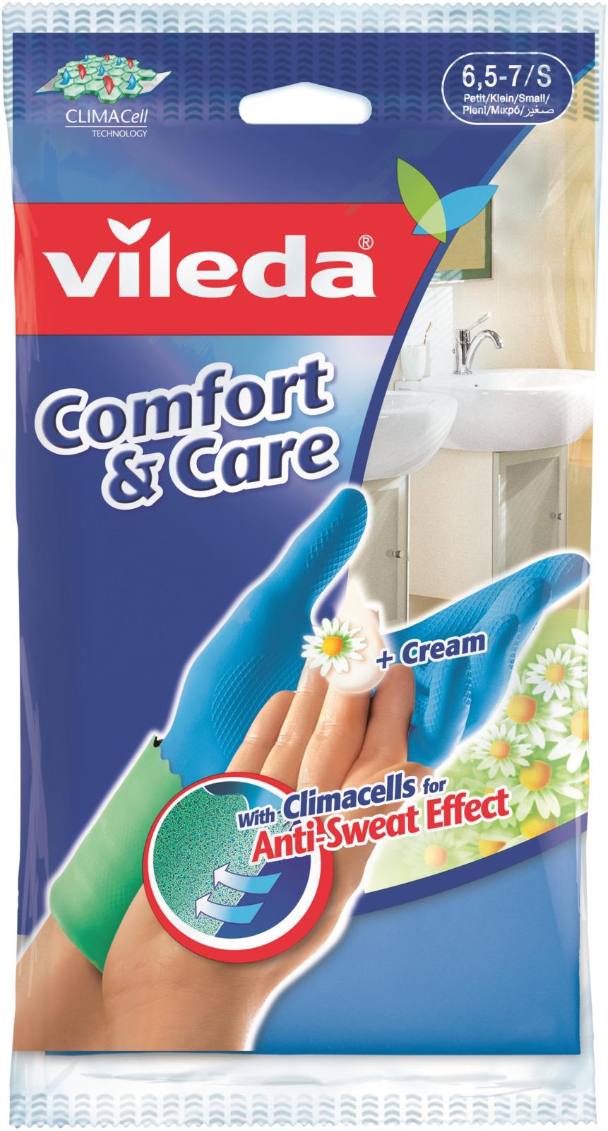 Перчатки Vileda Comfort & Care, с кремом для чувствительной кожи рук. Размер S vileda