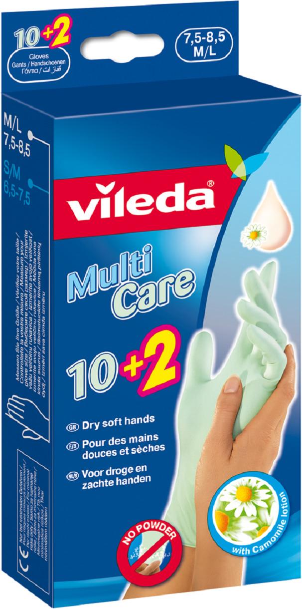 Одноразовые перчатки Vileda, с бальзамом, 12 шт. Размер M/L перчатки для деликатных работ vileda sensitive размер l