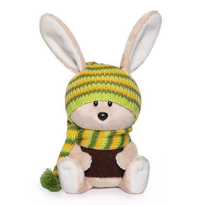 Мягкая игрушка Budi Basa col Заяц Антоша в шапочке и свитере бежевый