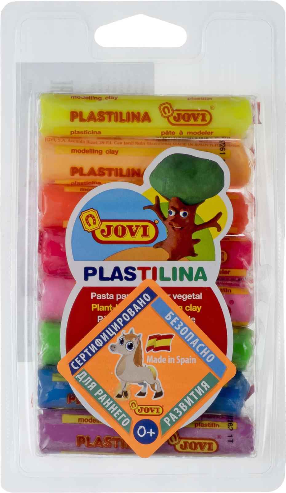 Jovi Пластилин флюоресцентный 8 цветов 120 г57932Легендарный пластилин Jovi на растительной основе идеален для начала обучения лепке и для уроков в школе и творческих студиях. Благодаря усовершенствованной формуле с воском пластилин Jovi безопасен, обладает повышенной пластичностью, хорошо лепится, прекрасно держит форму, не деформируется, легко извлекается из формочки, не крошится, не высыхает, цвета прекрасно смешиваются между собой, слепленные фигурки не опадают со временем. Используется для техники Рисование пластилином и пластилиновой мультипликации. Не пачкает руки, снимается с любой поверхности без усилий, не оставляя пятен. Гипоаллергенен, без консервантов, не содержит глютен. Набор пластилина на растительной основе из 8 флюоресцентных цветов по 15 грамм в плотном блистере.