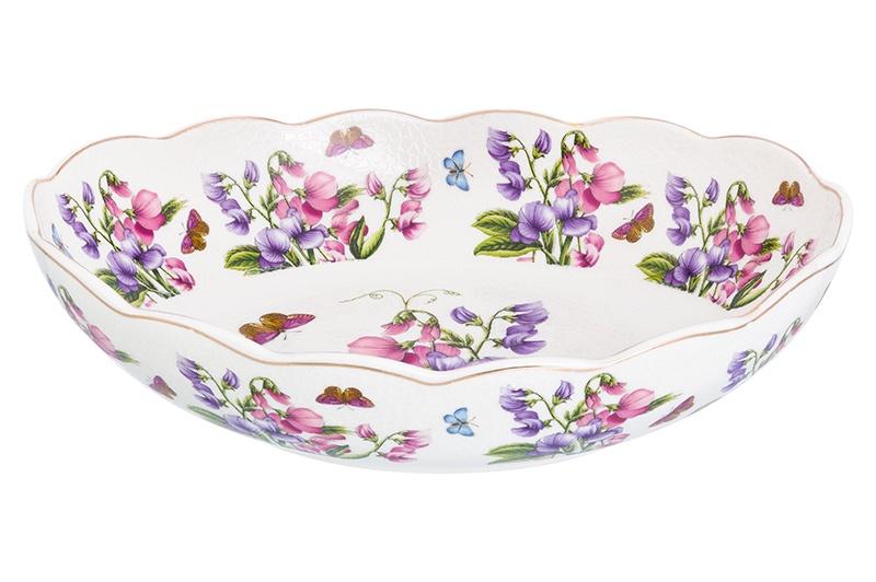Блюдо Elan Gallery Душистый горошек, белый, зеленый, розовый блюдо для слоеных салатов elan gallery сиреневый туман 21 5 х 16 см 600 мл