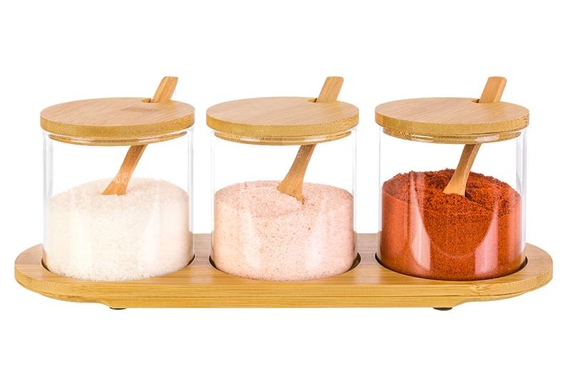 Набор банок для специй 3 пр. 300 мл 29х9,5х10 см Elan Gallery Verto стекло и бамбук. крышка, ложка и подставка