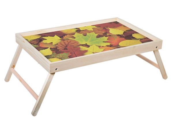 """Столик для завтрака """"Осенние листья"""" 52x33 см массив дерева, натуральный KD-034-127"""