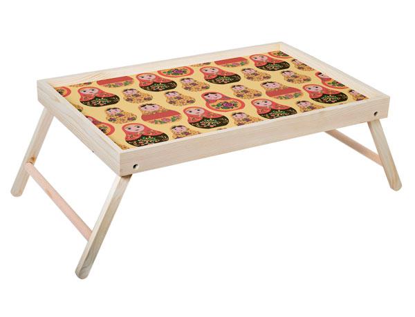 """Столик для завтрака """"Матрешки"""" 52x33 см массив дерева, натуральный KD-034-137"""